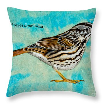 Melospiza Melodia Throw Pillow