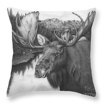 Melozi River Moose Throw Pillow