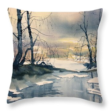Melt Water On Skipwith Common Throw Pillow