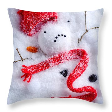 Melted Snowman Throw Pillow