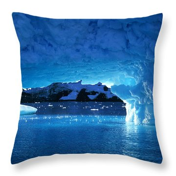Melting Ice Cave Antarctica Throw Pillow