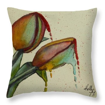 Melting Tulips Throw Pillow by Kelly Mills
