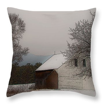 Melvin Village Barn In Winter Throw Pillow