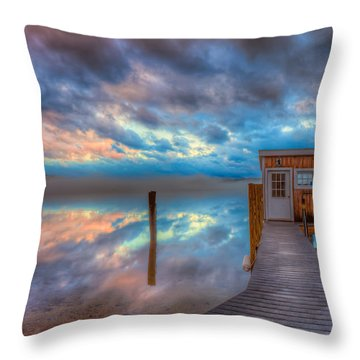 Melvin Village Marina In The Fog Throw Pillow