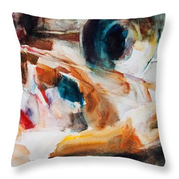 Throw Pillow featuring the painting Member Of The Band by Jani Freimann
