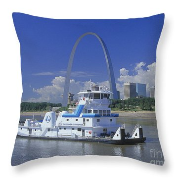 Memco Towboat In St Louis Throw Pillow by Garry McMichael
