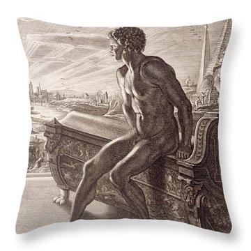 Memnon's Statue Throw Pillow by Bernard Picart
