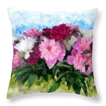 Memorial Day Peonies Throw Pillow