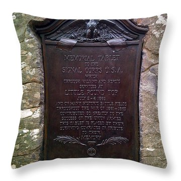 Memorial Tablet To Signal Corps U.s.a. Throw Pillow