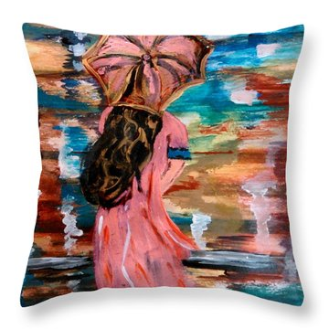 Throw Pillow featuring the painting Memories by Lori  Lovetere