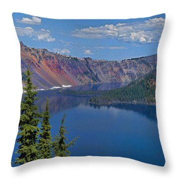 Memories Of Crater Lake Throw Pillow by Daniel Hebard