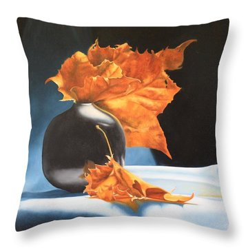 Memories Of Fall - Oil Painting Throw Pillow