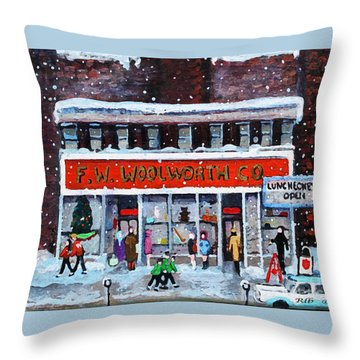 Throw Pillow featuring the painting Memories Of Winter At Woolworth's by Rita Brown
