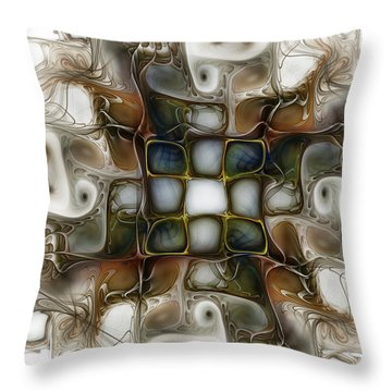 Memory Boxes-fractal Art Throw Pillow by Karin Kuhlmann