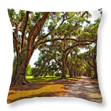 Memory Lane Oil Throw Pillow by Steve Harrington