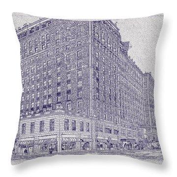 Memphis Peabody Hotel Blueprint Throw Pillow