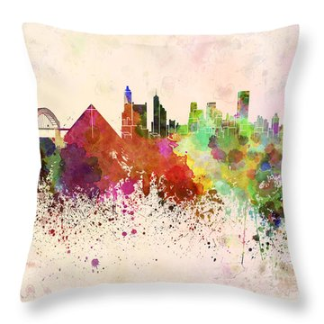 Memphis Skyline In Watercolor Background Throw Pillow by Pablo Romero