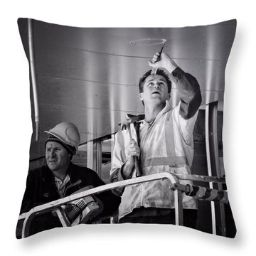 Throw Pillow featuring the photograph Men At Work by Wallaroo Images