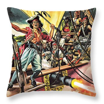Men Of The Jolly Roger Throw Pillow by Ron Embleton