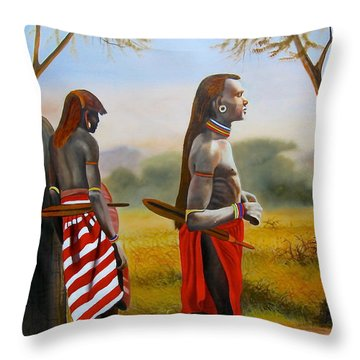 Men Of The Maasai Throw Pillow