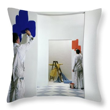 Men Painting Walls Throw Pillow