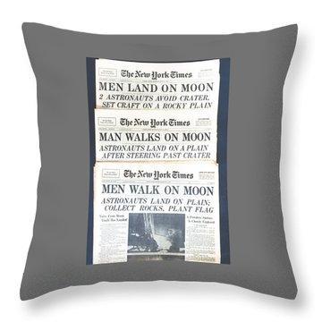 Men Walk On The Moon Throw Pillow