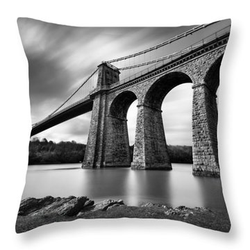 Menai Suspension Bridge Throw Pillow