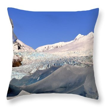 Throw Pillow featuring the photograph Mendenhall Glacier Refraction by Cathy Mahnke