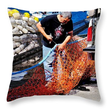 Throw Pillow featuring the photograph Mending The Nets by Bob Wall