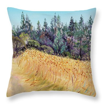Mendocino High Grass Meadow At Susan's Place In July Throw Pillow