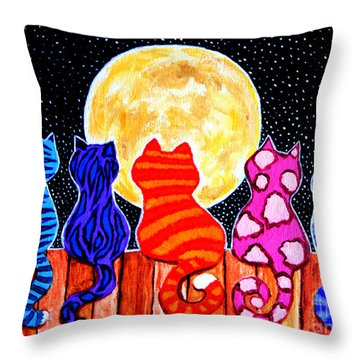 Meowing At Midnight Throw Pillow