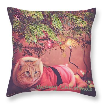 Meowy Christmas Throw Pillow by Melanie Lankford Photography