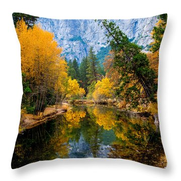 Merced River And Leaning Pine Throw Pillow