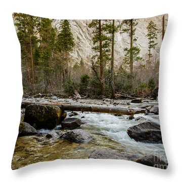 Merced River From Happy Isles 2 Throw Pillow