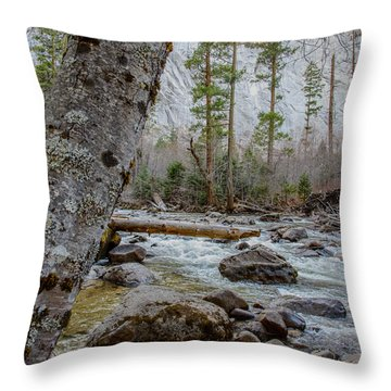 Merced River From Happy Isles Throw Pillow