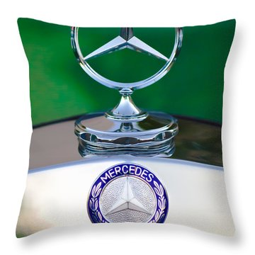 Mercedes Benz Hood Ornament 3 Throw Pillow by Jill Reger
