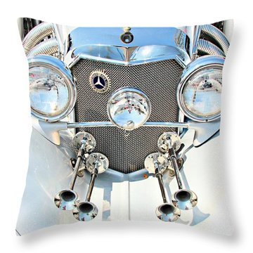 Vintage Car Throw Pillow featuring the photograph Mercedes Of Old  by Aaron Berg