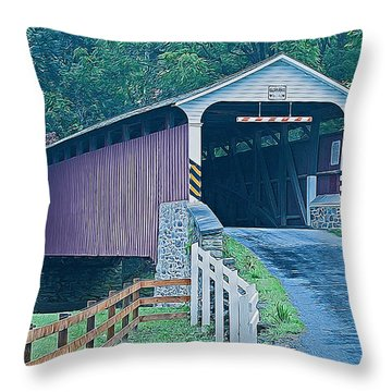 Mercer's Mill Covered Bridge Throw Pillow