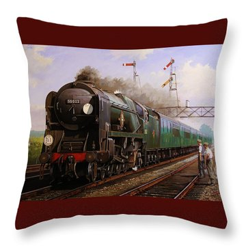 Merchant Navy Pacific At Brookwood. Throw Pillow by Mike  Jeffries