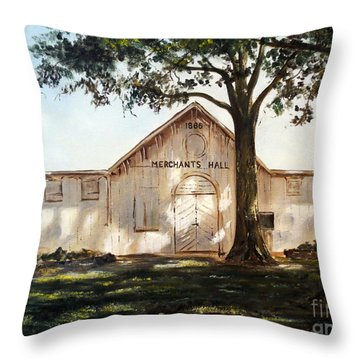 Throw Pillow featuring the painting Merchants Hall by Lee Piper
