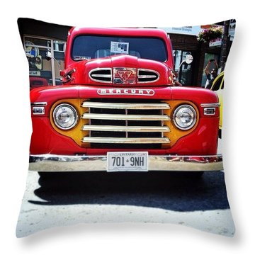 #mercury #oldcar #vintage #red #truck Throw Pillow