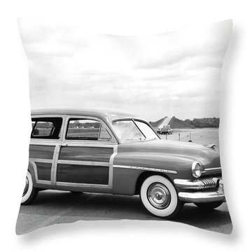 Old Woody Station Wagon Throw Pillows