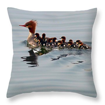 Punk Duck And Posse Throw Pillow by Richard Engelbrecht