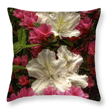 Merging Azaleas  Throw Pillow