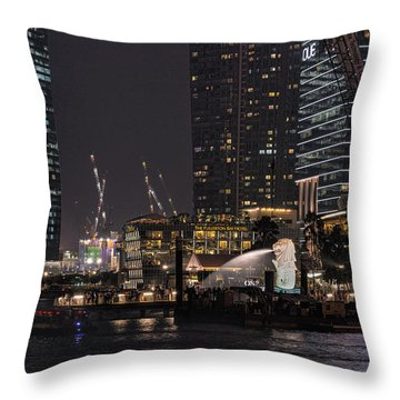 Throw Pillow featuring the photograph Merlion Singapore by John Swartz