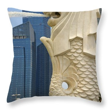 Merlion Statue By Singapore River Throw Pillow by David Gn