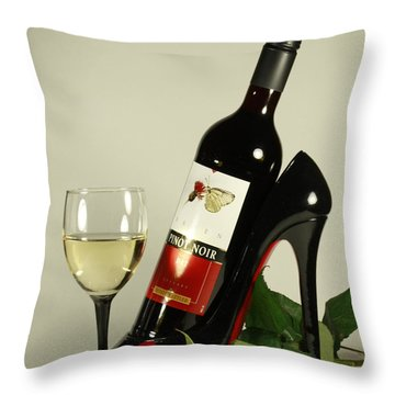 Merlot Wine And Red Rose Throw Pillow by Inspired Nature Photography Fine Art Photography