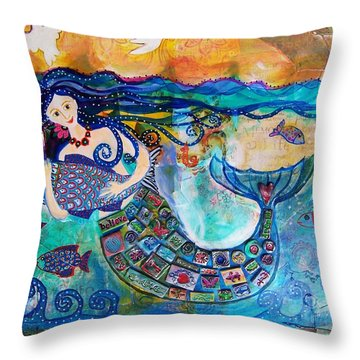 Mermaid And Fish Throw Pillow