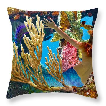 Mermaid And Snorkeler Throw Pillow