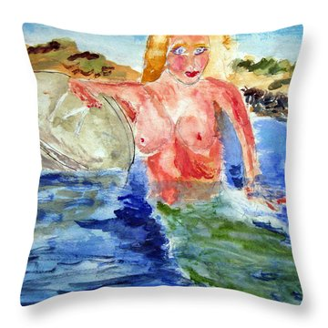 Mermaid And The Buoy Throw Pillow
